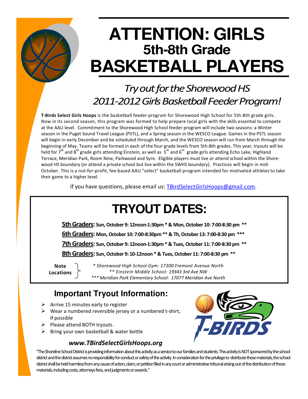 Shoreline Area News Try Outs For Girls Basketball Sw
