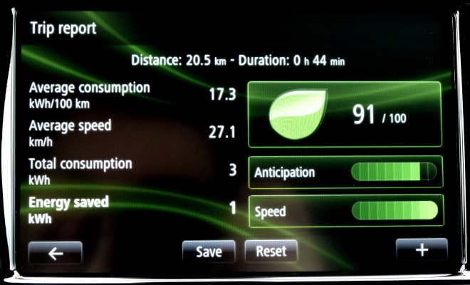 Renault Zoe EV eco driving-results screen
