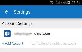 Como adicionar várias contas no Outlook.com para Android