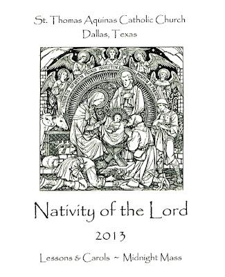 St.Thomas Aquinas Christmas Eve 2013 bulletin