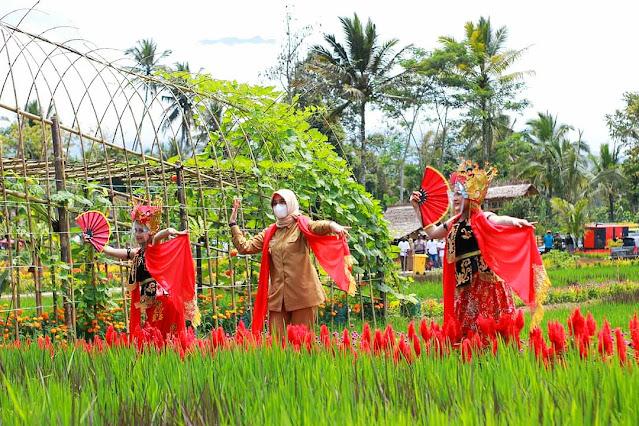 Bupati Ipuk ikut menari dalam festival padi 2021.