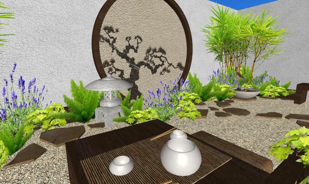 Dise o de un hermoso jard n peque o oriental japon s - Diseno de un jardin ...