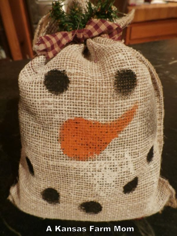 Tales of a kansas farm mom thank you nebraska wheatie for Snowman made out of burlap