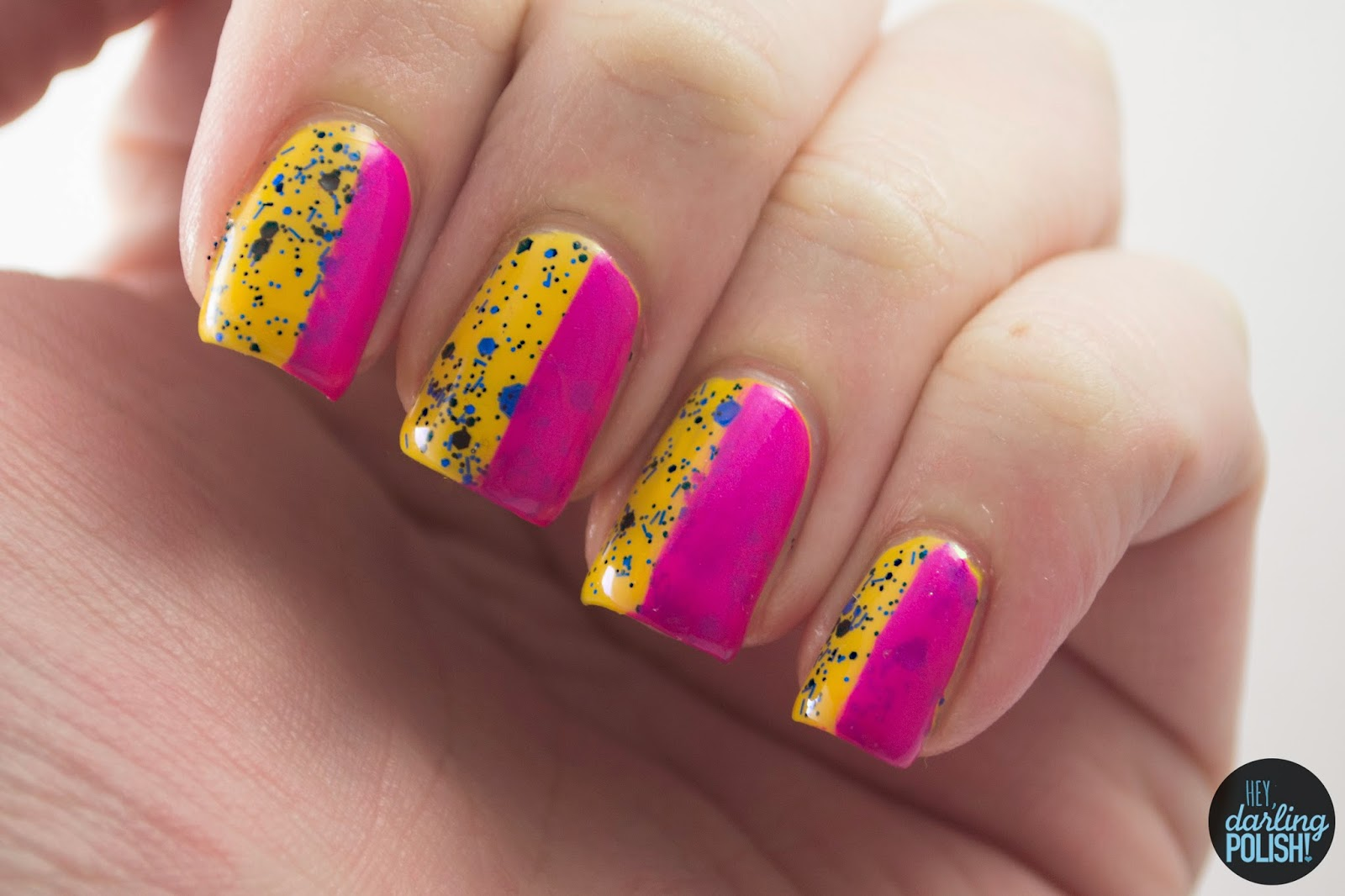 nails, nail art, nail polish, polish, yellow, pink, blue, glitter, hey darling polish, tri polish challenge, tpc, stripes