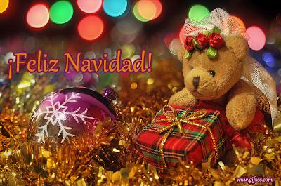 Osito navideño con adornos y mensaje de feliz navidad