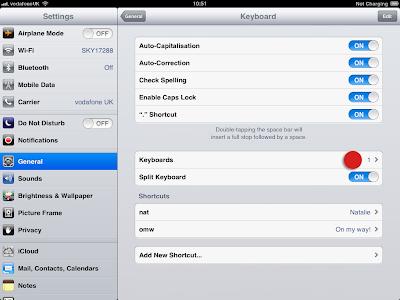 Keyboard smiley settings