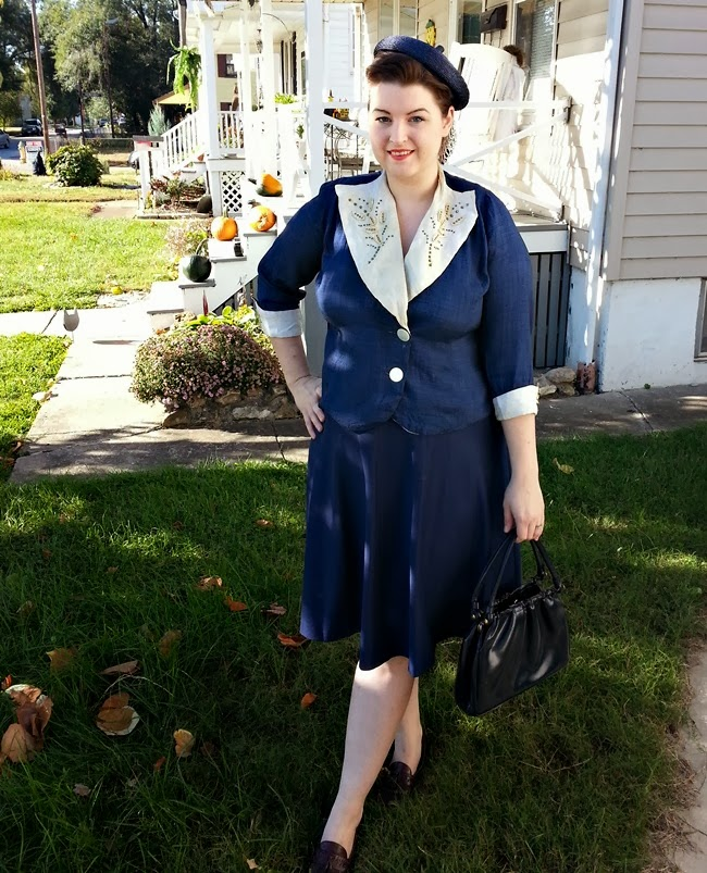 1930s 40s studded jacket with oversized collar, straw hat