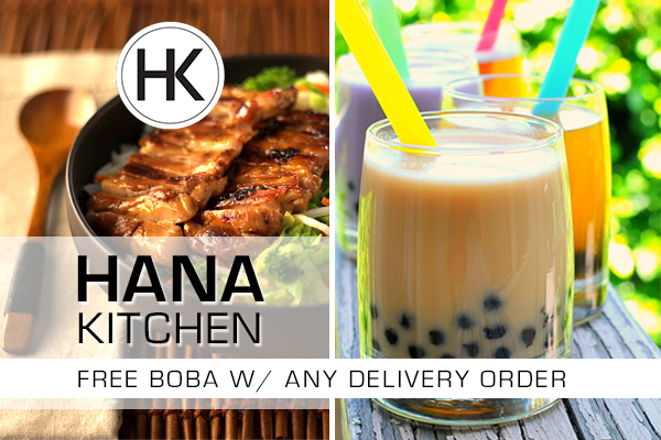 FREE Boba Tea W/ Delivery Order At Hana Kitchen Isla Vista!