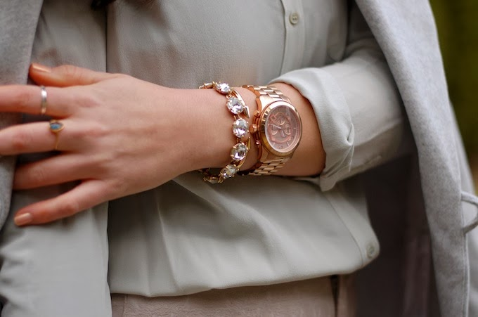 Stella and Dot rhinestone bracelet, Vita Fede and Michael Kors runway watch