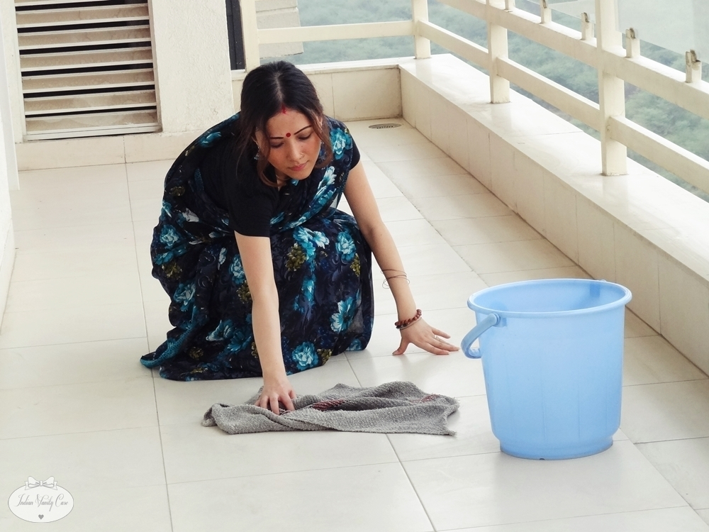 image South indian maid cleaning and showering hidden camera