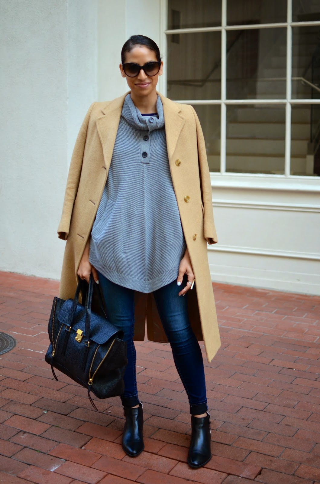 casual chic style, grey sweater cape, tailored camel coat, thrifted coat, style in the city