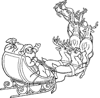 Santa Claus coming on reindeer(sleigh) with Christmas gifts coloring page
