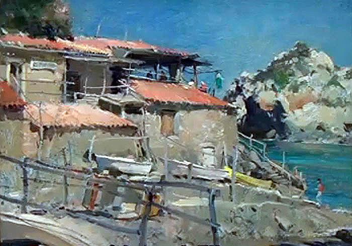David Curtis (Bitish, 1946  ?) Barcas de la cala deiá