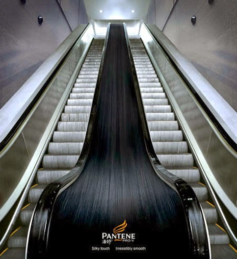 advertising in escalators, Pantene