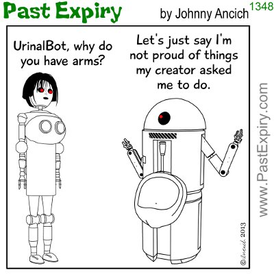Cartoon about relationships, robots, bathroom,