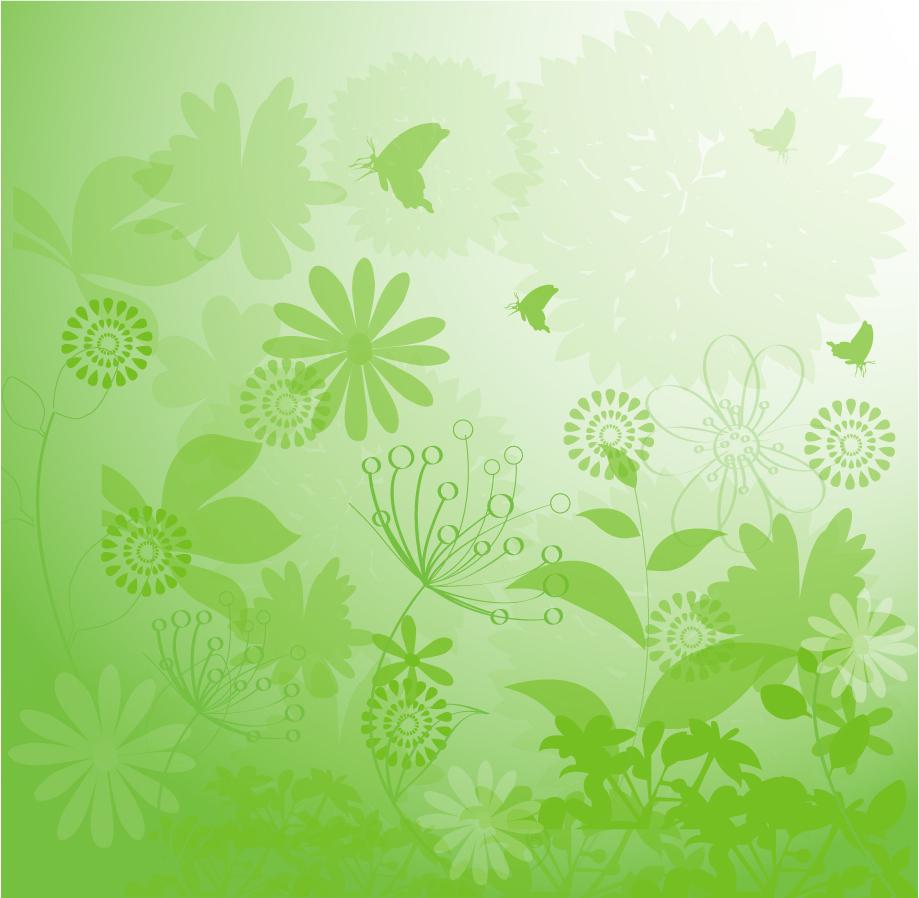 緑の植物に蝶が舞う背景 Floral Grunge Background イラスト素材