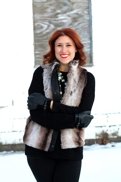 brown, faux, fur, vest