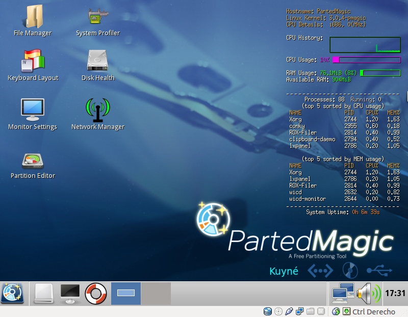 Parted Magic, mantenimiento de PC