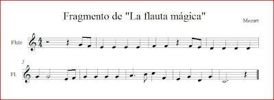 """Partitura del Pequeño Fragmento de """"La Flauta Mágica"""" para flauta fácil o instrumentos en clave de sol"""