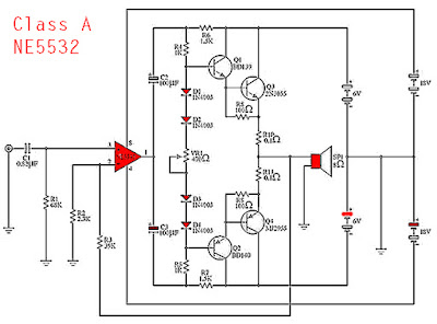 NE5532 Class A Power Amplifier Circuit Diagram