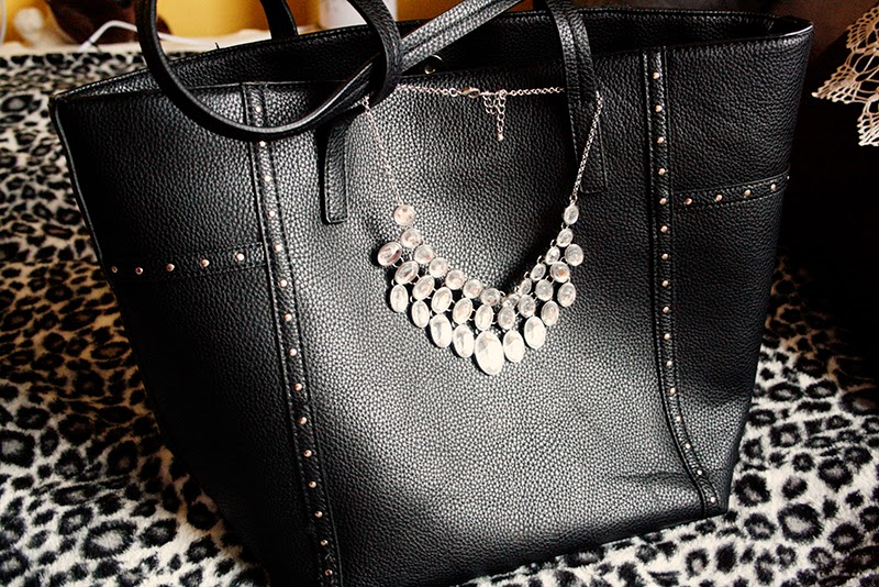 crystal necklace studded bag