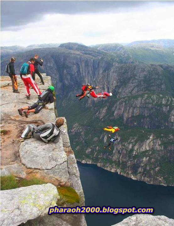 Base Jumping off Kjerag Mountain, Norway