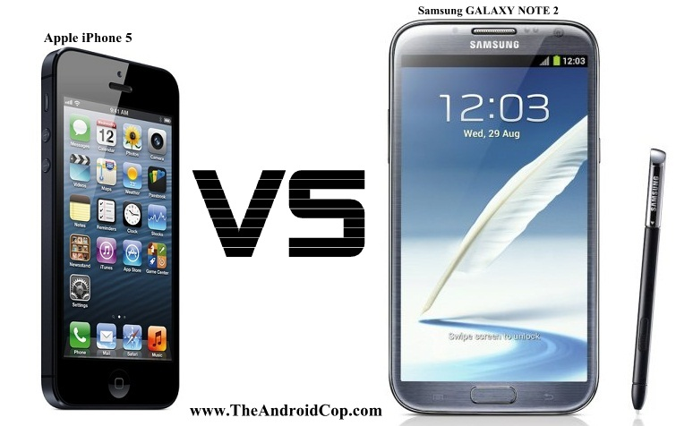 ������ �������� ��� �������  Apple iPhone 5 vs Samsung Galaxy Note 2