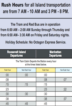 Roosevelt Island Tram & Red Bus Schedule