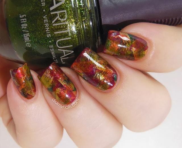 autumn brushstroke manicure