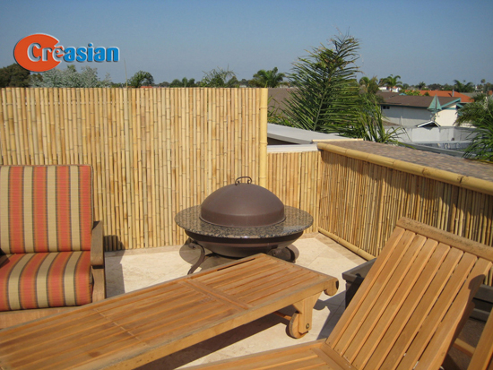 Quality bamboo and asian thatch waterproof bamboo panels for Low balcony wall