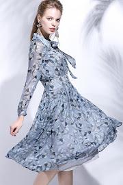 Dusty Pink/Ash Blue Long Sleeve Leaf Print Chiffon Flare Dress