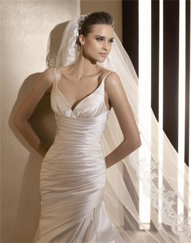 Geneve satin fitted gown with straps drape bodice and slim fishtail skirt