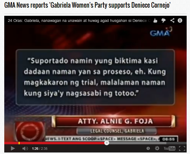 Misleading Report by GMA News Reporter Sandara Aguinaldo turns to disappointment of Atty. Alnie G. Foja