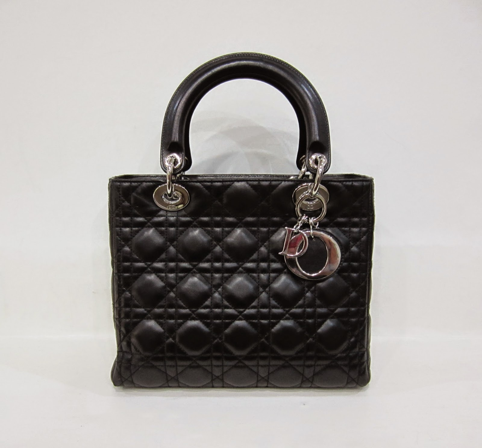 Christian Dior Black Leather Lady Dior Bag