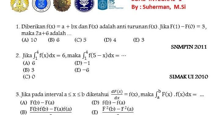 Soal Soal Snmptn Ttg Integral 1000 Soal Matematika Uan Snmptn Simak Ui