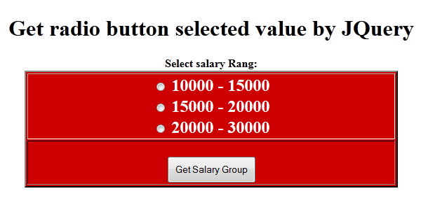 Get selected radio button values using JQuery