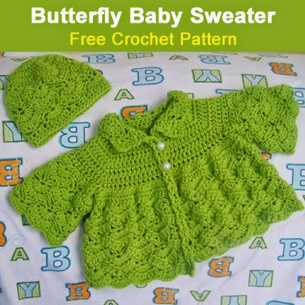 Butterfly Baby Sweater - Free Crochet Pattern