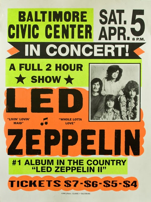 music, advertising, classic posters, free download, free printable, graphic design, japan, japanese, printables, retro prints, vintage, vintage posters, vintage printables, concert, rock and roll, Led Zeppelin in Concert - Vintage Concert Poster