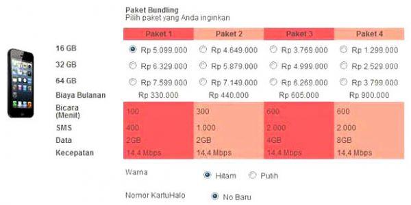 Harga iPhone 5 paket bundel layanan pascabayar KartuHalo Telkomsel