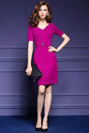 New 2016 Short Sleeve Elegant Fuchsia OL Dress