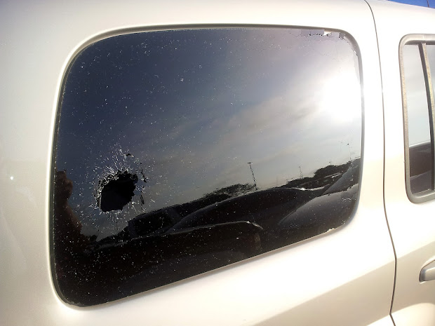365, photography, rock through windshield