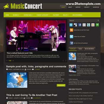 Music Concert blog template. template image slider blog. magazine blogger template style. music template for blogger