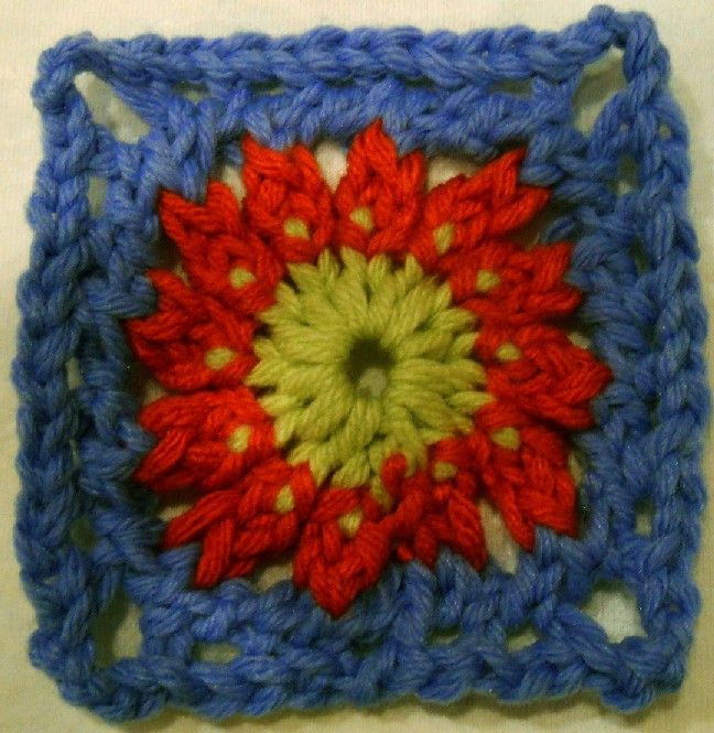 Crochet Stitch On Loom : 24-peg Baby Gran Square (4.5 inches)