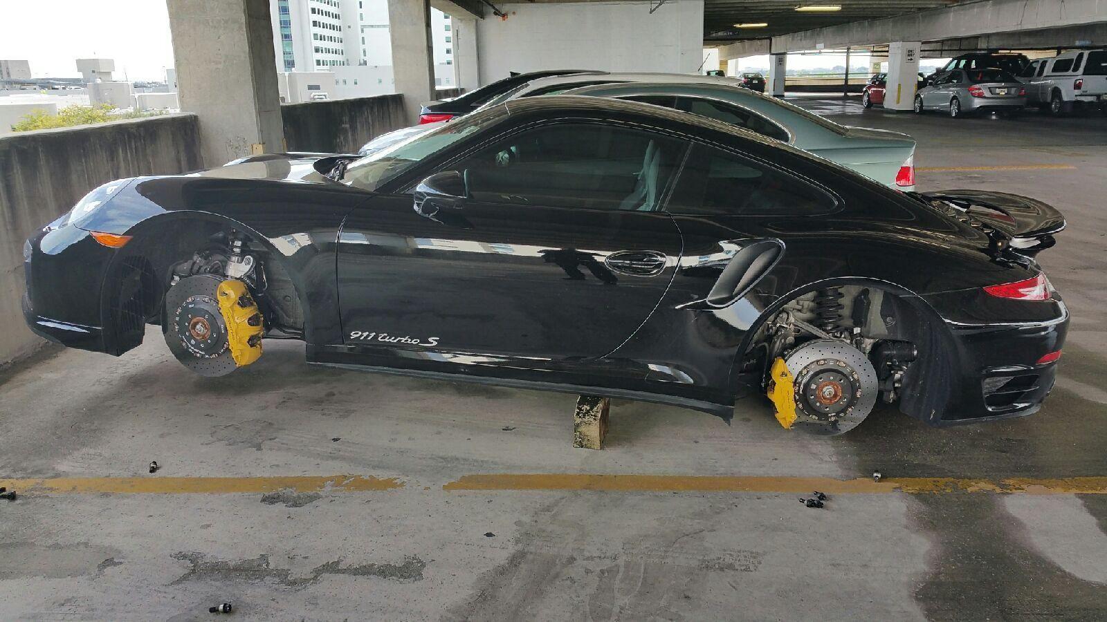 Porsche 911 Turbo S Has Wheels Stolen In Florida Left On