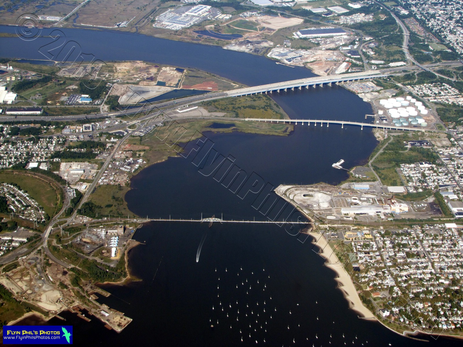 Lovely Garden State Parkway And Route 9; The Route 35 Bridge (center) And A  Rail Road Bridge (lower) Over The. Raritan River At Perth Amboy, NJ