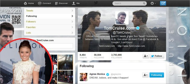 tom cruise follow twitter agnes monica