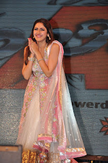 Sayesha Saigal in Designer Glittering Sleeveless Anarkali Suit at Akhil audio release function