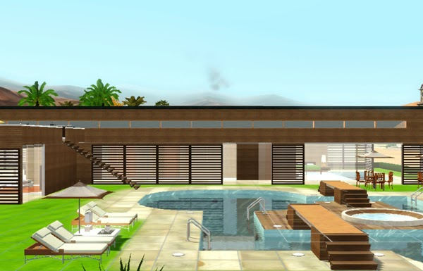[LIVING DESIGN] WOODEN BOX HOUSE THE SIMS 3 pool