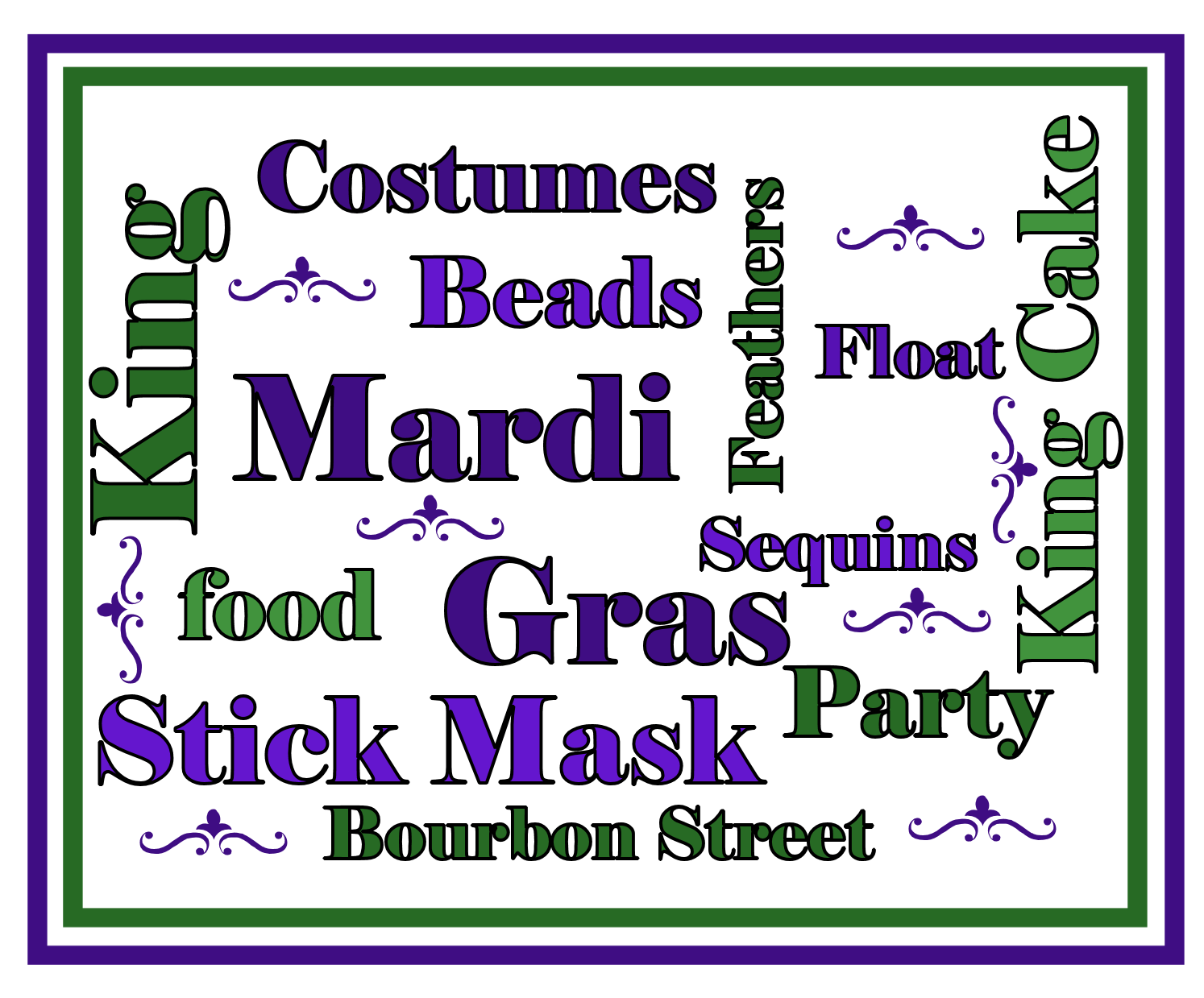Mardi Gras Word Art ~ Barely enough time to make a card before Fat ...