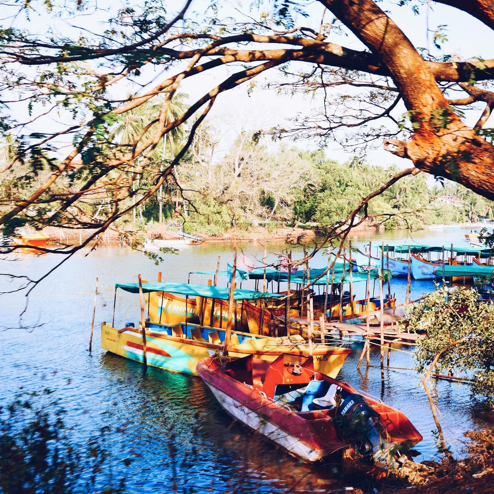 Colourful river boats, Goa